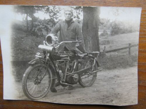 VERY RARE Antique Photograph, INDIAN MOTORCYCLE, c1910, Real Photo Postcard