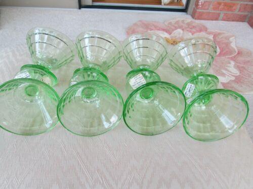 SET 8 Anchor Hocking GREEN BLOCK OPTIC DEPRESSION GLASS Sherbet Martini Glasses