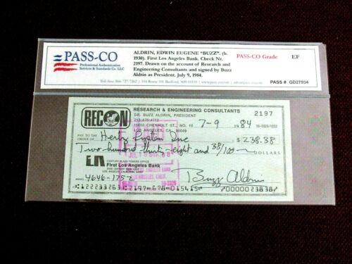 BUZZ ALDRIN APOLLO 11 NASA ASTRONAUT SIGNED AUTO VINTAGE 1984 CHECK PASS-ON GEM