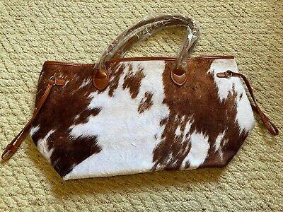 Cow Print Boho Cowgirl Western Gypsy Tote Overnight Bag Western Cow Print