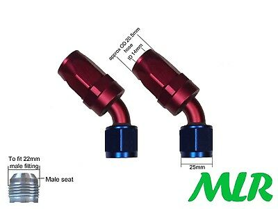 MLR AN-10 JIC 45 DEGREE RED BLUE OIL COOLER REMOTE FILTER HOSE PIPE FITTING PAIR