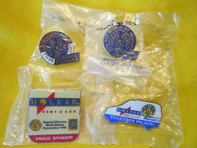 4 Special Olympics 1995 Souvenir Metal Pin Back Dollar Rent A Car New Sealed