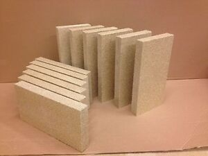 8 x Vermiculit fire bricks, stove woodburner 230mm x 114mm x 25mm thick