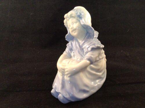 Antique Heubach Porcelain Figure Girl Maid Bonnet Bavaria Germany Blue White - $22.20