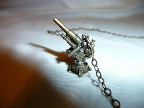 Antique WWII Anti Aircraft Howitzer Ster. Silver Sweetheart Pendant & JCM Chain