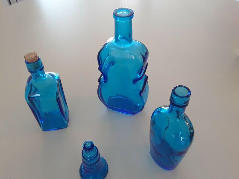 Wheaton Blue Glass Bottles Set of 4