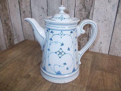 alte Porzellan Kaffeekanne,Strohblumendekor,Indisch Blau,Strohblumenmuster