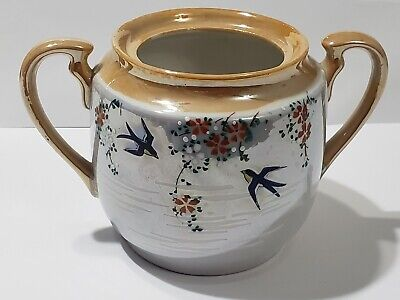 vintage Sugar Bowl hand painted Japanese -sparrow birds and flowers - Hand Painted Bird Design