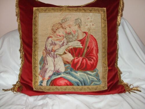Antique Needlepoint Of Joseph & Jesus Featured On Newly Created Pillow