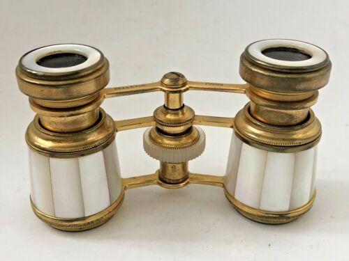 Antique Victorian Bellevue Paris Mother Of Pearl MOP Opera Glasses Binoculars