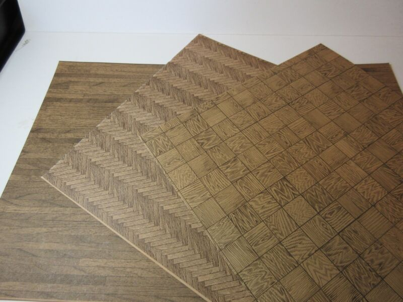 Miniature Dollhouse wallpaper J Hermes Woodfloor Asst. #2 Wood look Paper