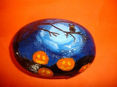 Halloween owl and pumpkins pebble art - hand painted stone, garden art](Halloween Pumpkin Art And Craft)
