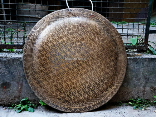 24 inches Flower of life engrave Tibetan Gong-handmade gong-temple gong Nepa