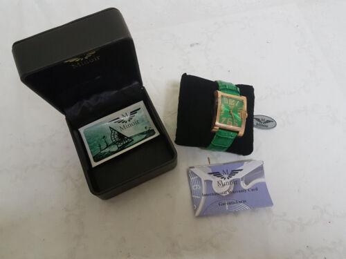 Minoir Uhren Automatikuhr Damen Herren gold/gruen Lederuhrband Verpackung