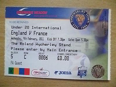 Ticket- Under 20 International- ENGLAND v FRANCE, 9 Feb 2011
