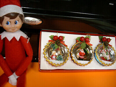 ELF ON THE SHELF doll pixie felt retired VINTAGE DIORAMA XMAS ORNEMENTS LOT