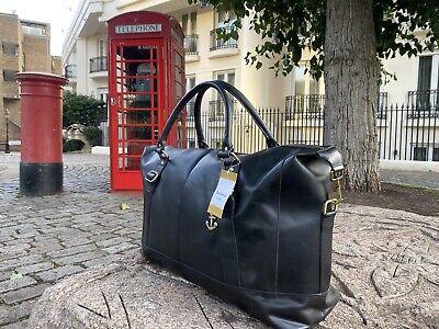 Genuine Leather Duffle Men Travel Gym Luggage Overnight Weekend Black Bag Unisex