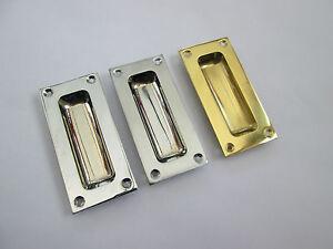 Brass recessed pull door handle flush inset door handle sliding ebay