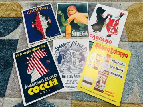 Lot of 6 Vintage Alcohol Advertisements - Reproductions - Campari Amaro Carpano