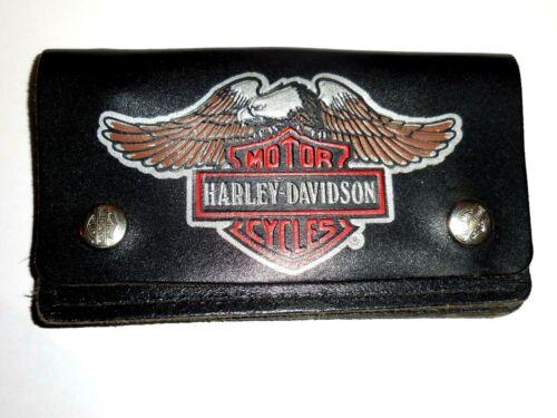 Vintage Harley Davidson Genuine Leather Biker Black Wallet Bi-Fold