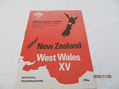New-Zealand v West Wales XV. Rugby Union. October 1978.