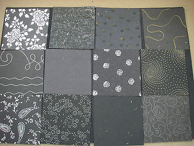 Job Lot CREATIVE Handmade Paper Pack 24 Sheets 6x6 NEW Black TEXTURED Lot2
