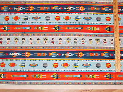 Solar Stripe - Space Adventure Stripe Astronaut Solar System Outer Fabric by the 1/2 Yard #3744