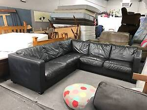 DELIVERY TODAY LUXURY FULL GENUINE LEATHER L shape corner sofa Belmont Belmont Area Preview