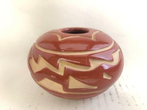 Native American Santa Clara Pottery Seed Bowl Denice Chavarria