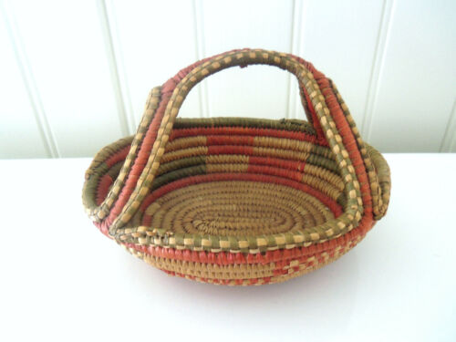 """Rare Small Coiled Sweetgrass Basket """"H"""" Shaped Handle"""