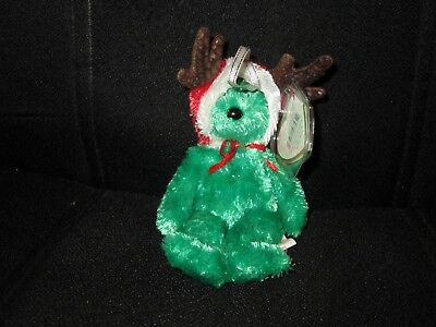 Ty Jingle Beanies-2002 Holiday Teddy Bear (Green)-MWMT and NEW!!