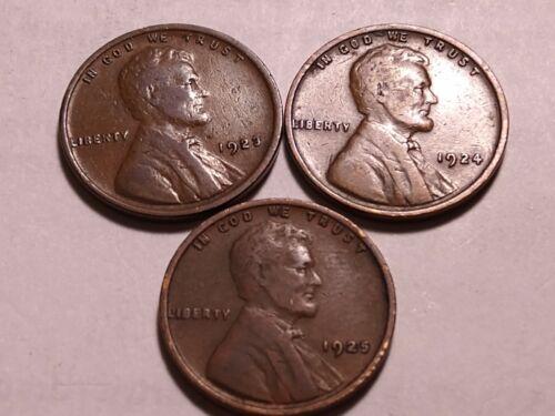 Three Lincoln Wheat Pennies, 1923-P, 1924-P 1925-P, VF Condition, FREE SHIP - $5.00