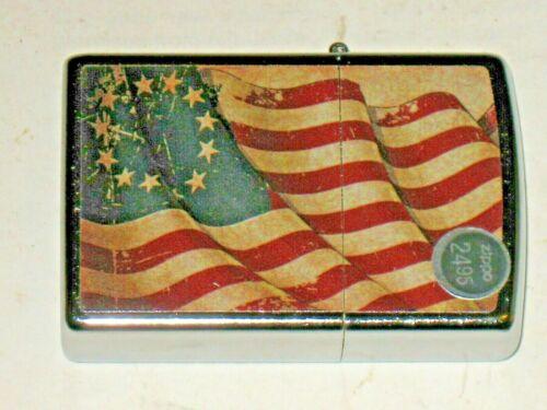 New Windproof USA ZIPPO Oil Lighter 30775 Betsy Ross Flag Street Chrome Case C21