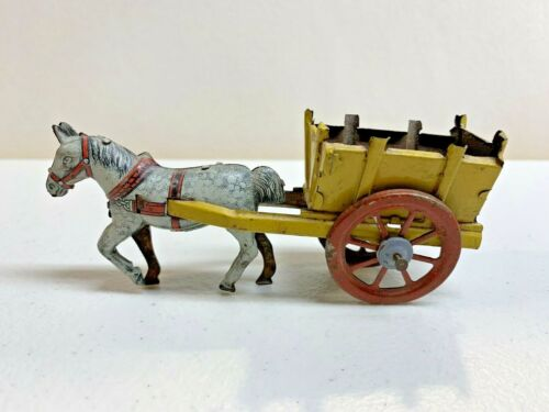 Vintage German Tin Litho Horse-Drawn Cart Penny Toy -- Great Condition
