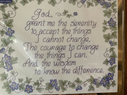 Serenity Prayer Stamped Cross Stitch Kit Sealed Janlynn 15x1
