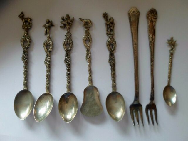 Antique Silver Demitasse Spoons, Italy, Bordini Montagnani  forks mixed lot