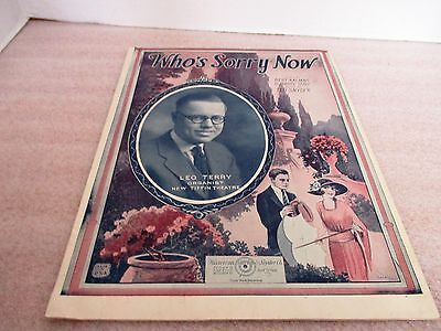 Vintage 1923~WHO'S SORRY NOW~Ted Snyder~Waterson Berslin & Snyder Co~Sheet Music