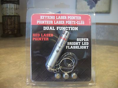 Key Ring Laser Pointer Bright Red Led Power Point Flashlight Cat Dog Pet Toy