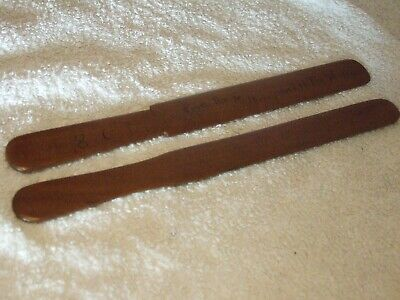 2 x  Wooden Page Cutters - One Plain One - From Mulberry Tree Westlord (1891 ?)