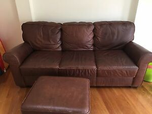 Bay Leather Brown 3 seater sofa and ottoman Northbridge Willoughby Area Preview