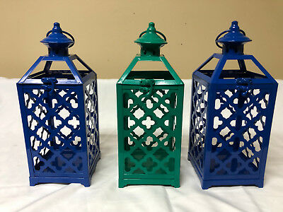 Colored Lanterns (Lifetime Brands Metal Clover Cool Colored Lanterns LOT OF 3 - 5