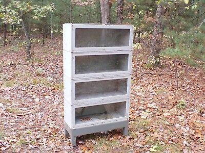 Industrial Metal Barrister Bookcase Mid-Century Modern Era Decor Medical Cabinet