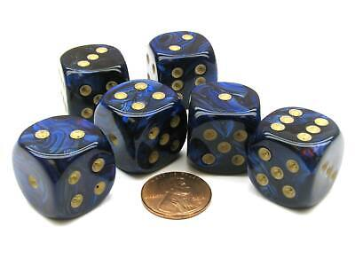 Scarab 20mm Big D6 Chessex Dice, 6 Pieces - Royal Blue with Gold Pips