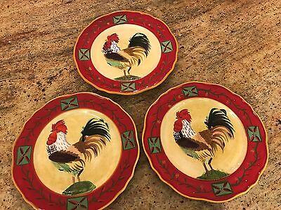 Oneida Fairweather Friends Rooster Salad Plate Set of 3 Sally Eckman