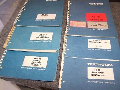 Lot Of 6 Tektronix Manuals Dm501a-fg 504-am-502-tm-503-pg 501-tm 501 Good Cond