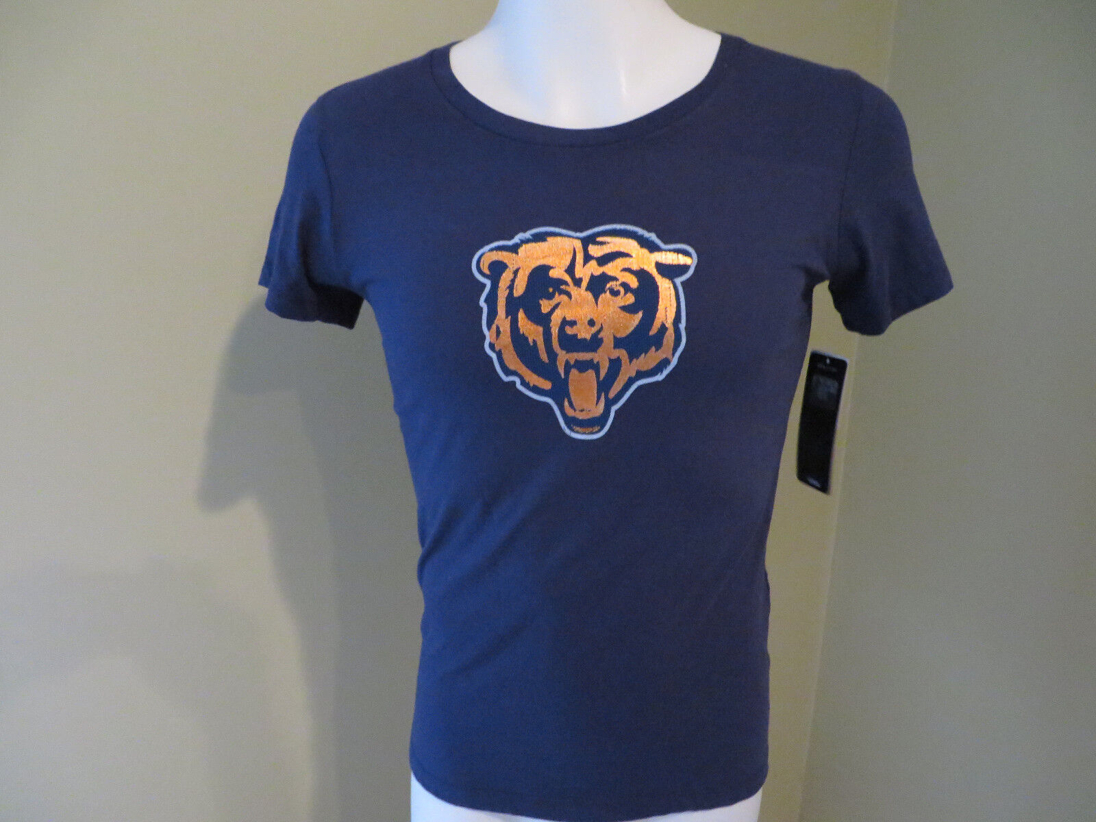 010f859a Majestic Chicago Bears Graphic T-Shirt Womes's Small S Blue 100% Cotton New  NWT