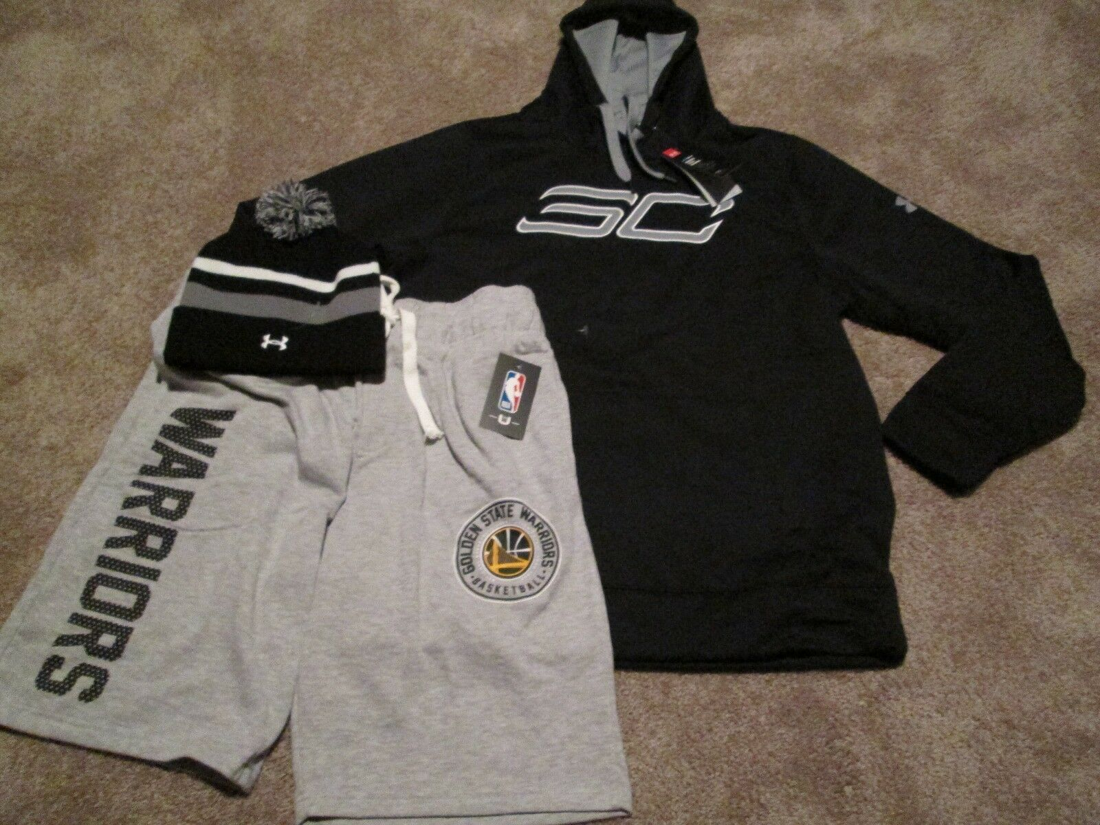 """NEW Mens UNDER ARMOUR CURRY """"SC"""" 3pc Hoodie+GS Shorts+UA Bea"""