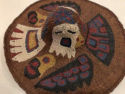 """Museum Grade Vintage Tlingit Cedar Bark Fish Hat """"Polychrome"""" Metlakatla """"Tate"""""""