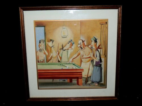Bourse Herrera Teodoro Alberto Authentic Watercolor Cartoon Illustration