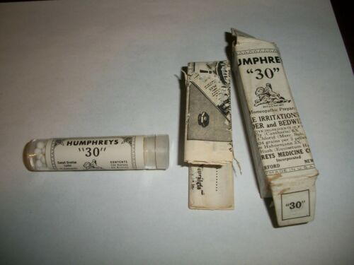 Antique HUMPHREYS 30 Bedwetting Full Box Herb Quack Medicine Bottle